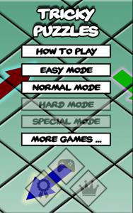 Tricky Puzzles - Menu