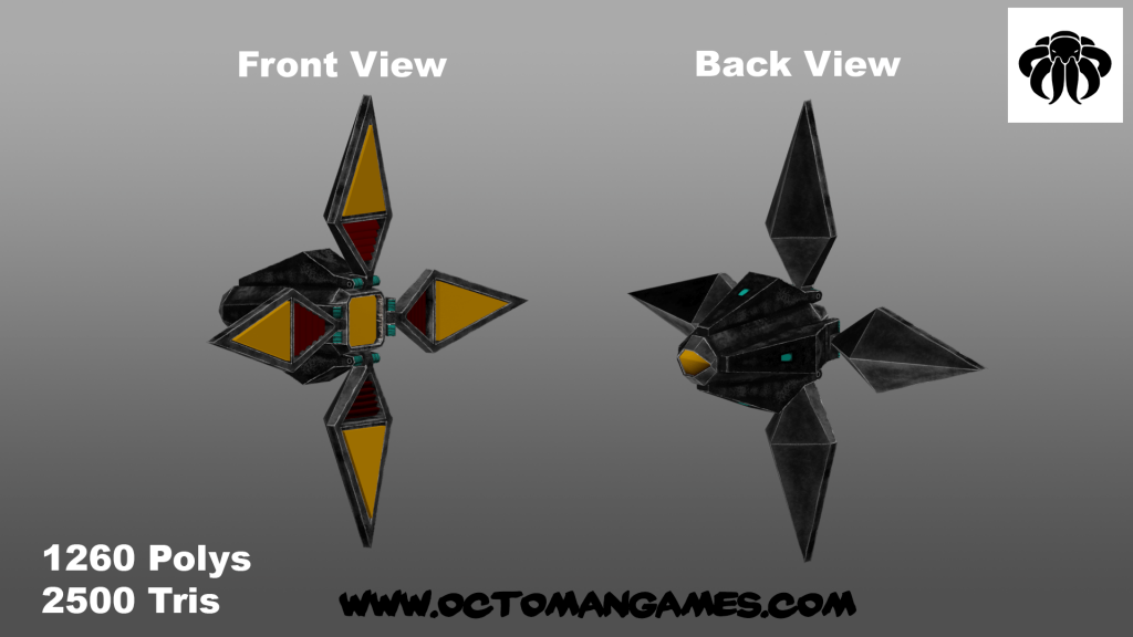 four winged space enemy unity asset octoman 04