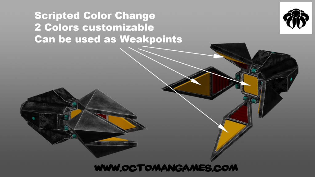 four winged space enemy unity asset octoman 05