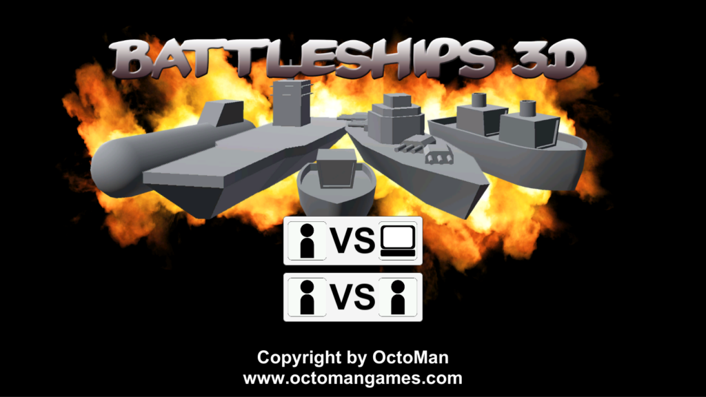 Battleships 3D OctoMan Unity Start Screen